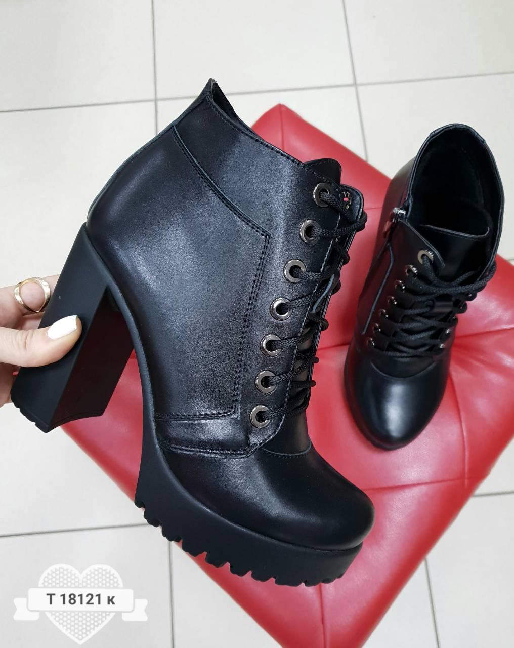 dc8c1f6e Женские стильные модные кожаные ботинки на каблуке , черные: продажа ...