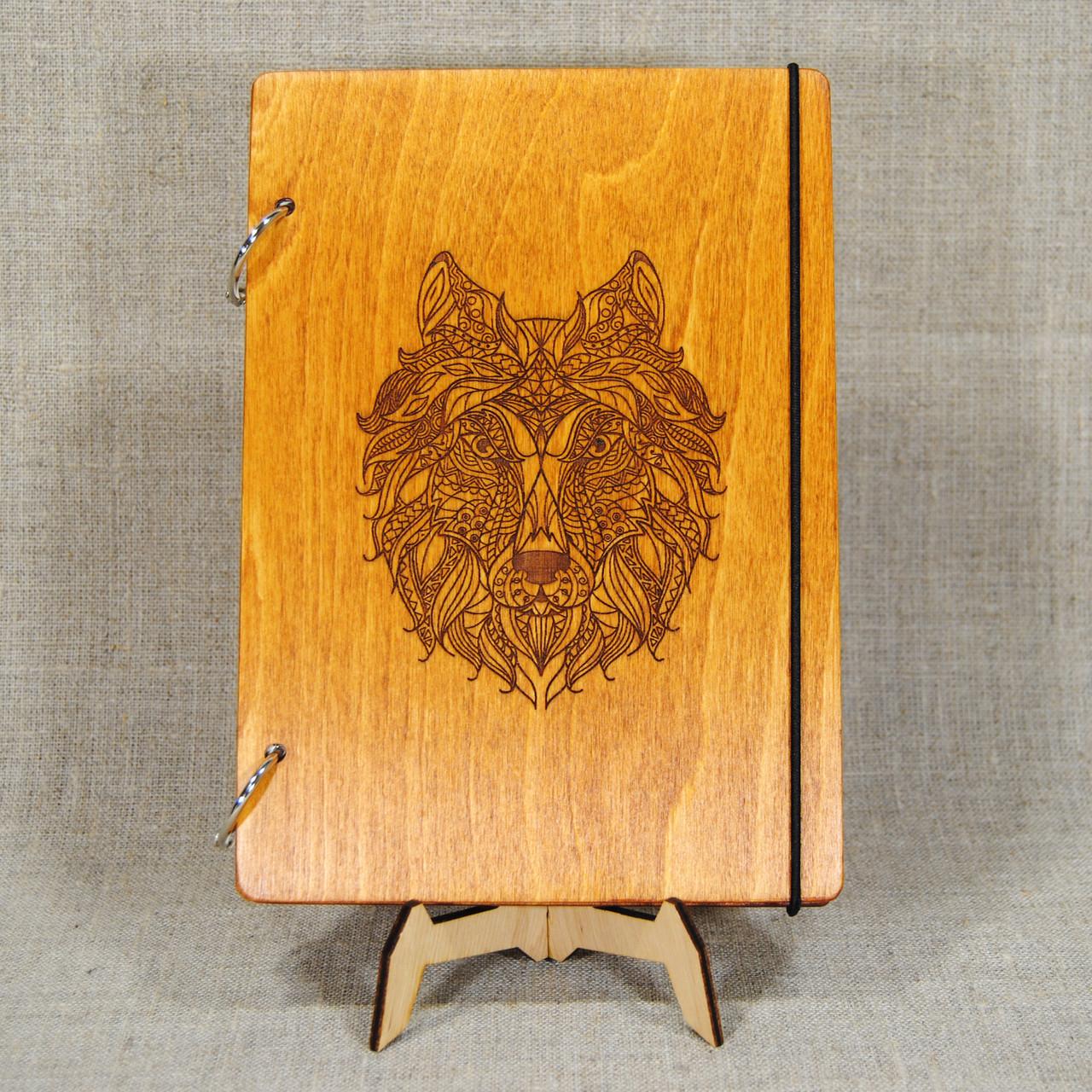 Скетчбук Волк. Блокнот с деревянной обложкой.