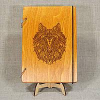Скетчбук Волк. Блокнот с деревянной обложкой. B6