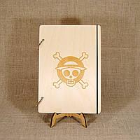 Скетчбук One Piece. Блокнот с деревянной обложкой. B6