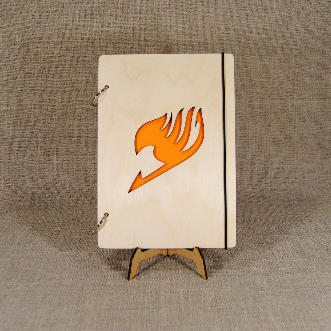 Скетчбук Fairy Tail. Блокнот с деревянной обложкой.