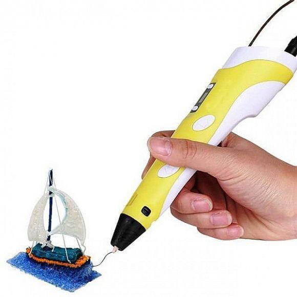 3D ручка Желтая c LCD дисплеем (3D Pen-2) +Подставка