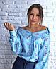 Женская коттоновая блуза свободного кроя со падающими плечами 3BL219
