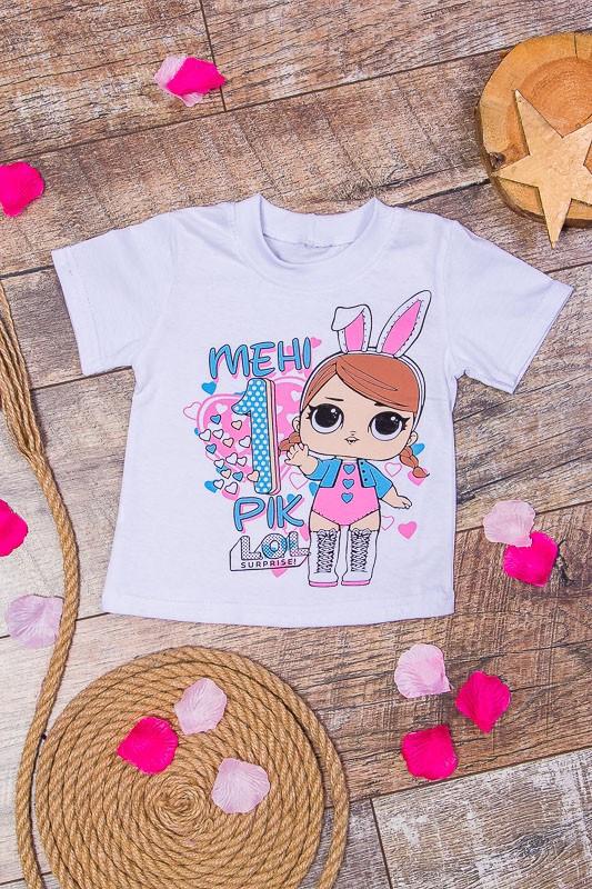 """Детская футболка """"Менi 1 рiк"""" кукла Лол на день рождение девочке"""