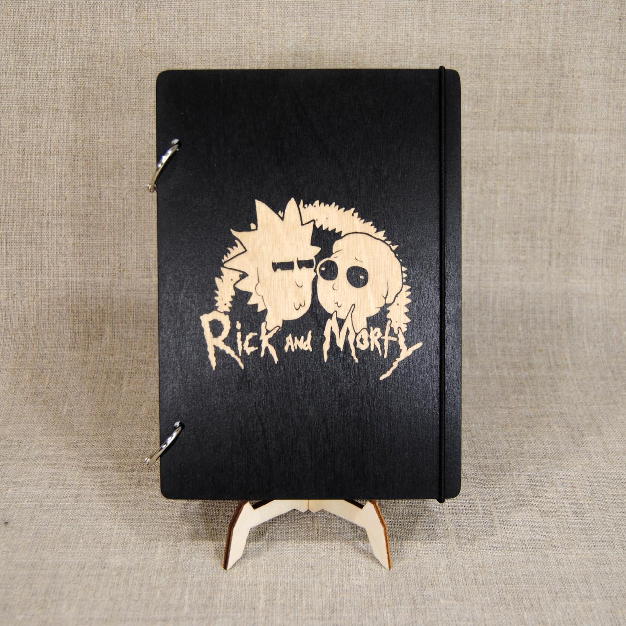 Скетчбук Rick and Morty. Блокнот с деревянной обложкой Рик и Морти.