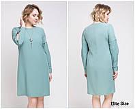 Платье-трапеция с длинным рукавом в больших размерах 6BR1477, фото 1