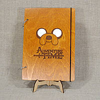 Скетчбук Adventure Time. Блокнот с деревянной обложкой.