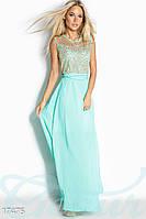 Блестящее платье в пол на вечер мятного цвета