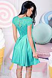 Короткое нарядное платье с кружевом мятное, фото 3