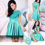 Короткое нарядное платье с кружевом мятное, фото 4