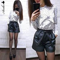 Стильные женские кожаные шорты, черные, 1113-019