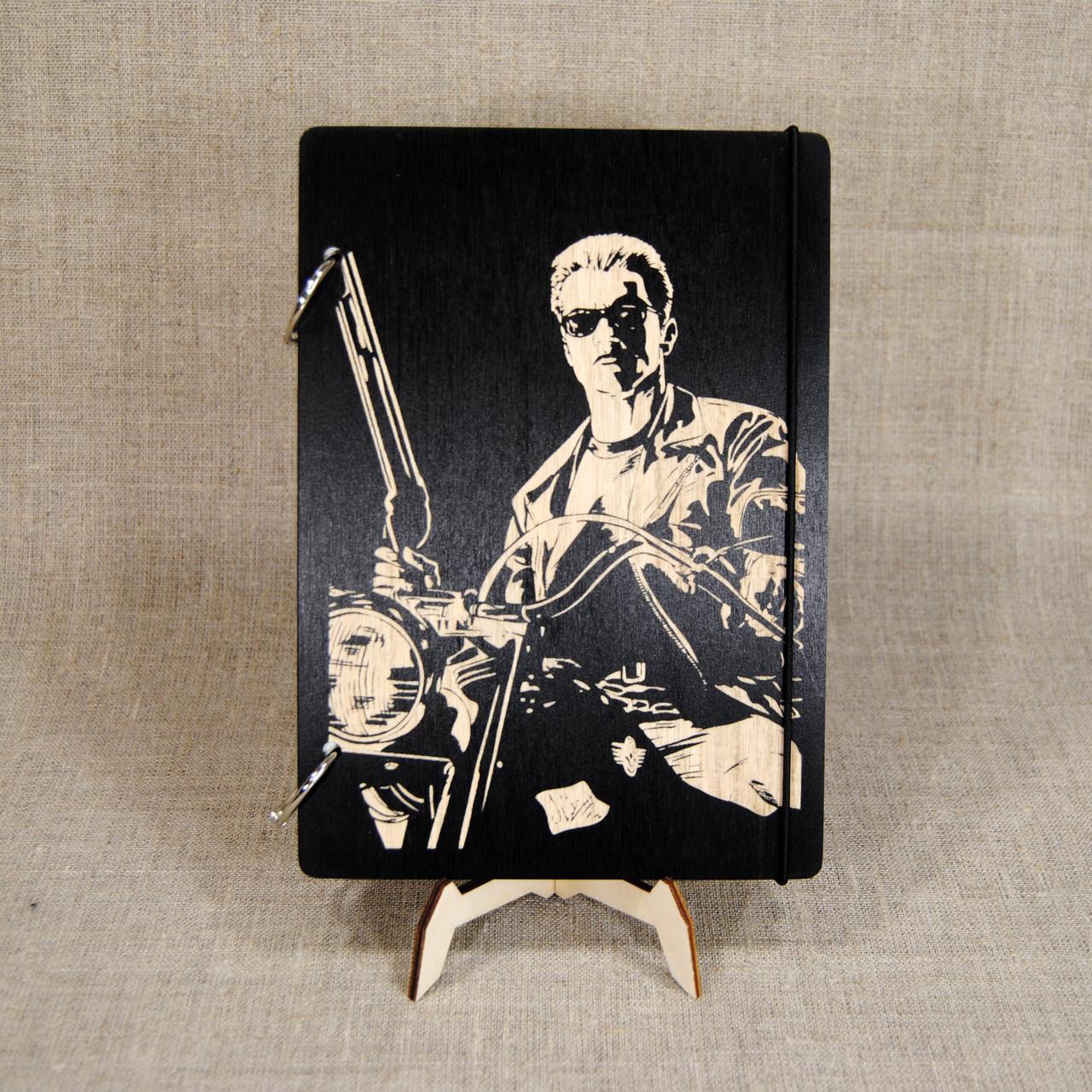 Скетчбук Terminator. Блокнот с деревянной обложкой Терминатор.