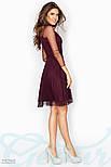 Бордовое платье с контрастным воротником, фото 2