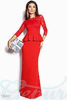 Кроасное платье в пол из гипюра с баской на поясе