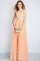 Персиковое платье в пол с цветочной вышивкой