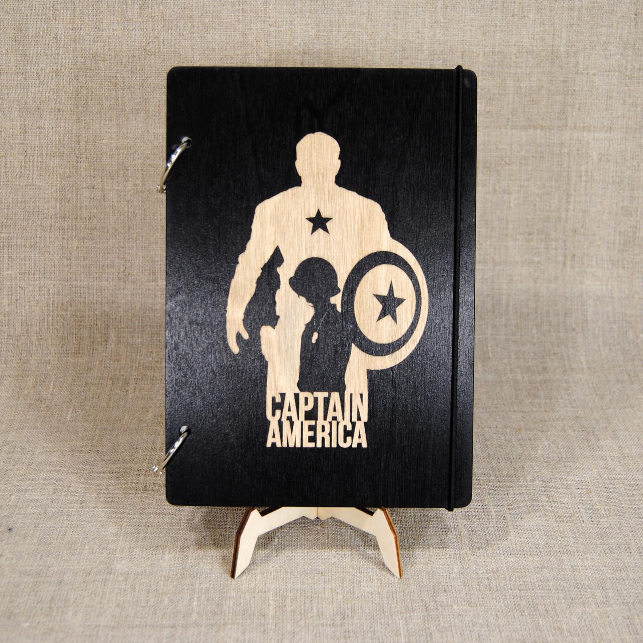 Скетчбук Captain America. Блокнот с деревянной обложкой Капитан Америка.