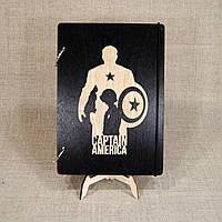 Скетчбук Captain America. Блокнот с деревянной обложкой Капитан Америка., фото 1