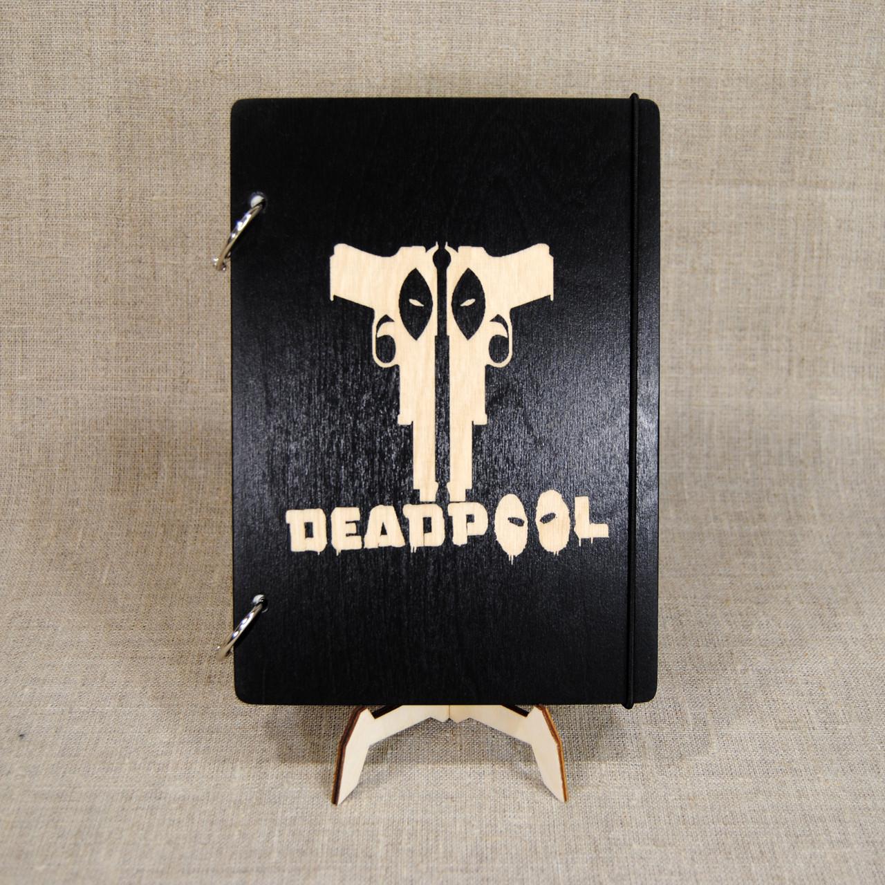Скетчбук Deadpool. Блокнот с деревянной обложкой Дедпул