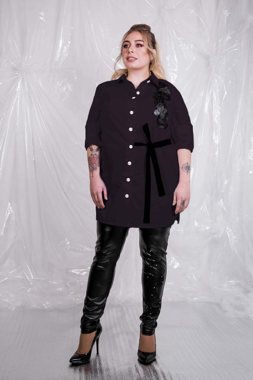Женская удлиненная рубашка хлопок в больших размерах 10ba1483