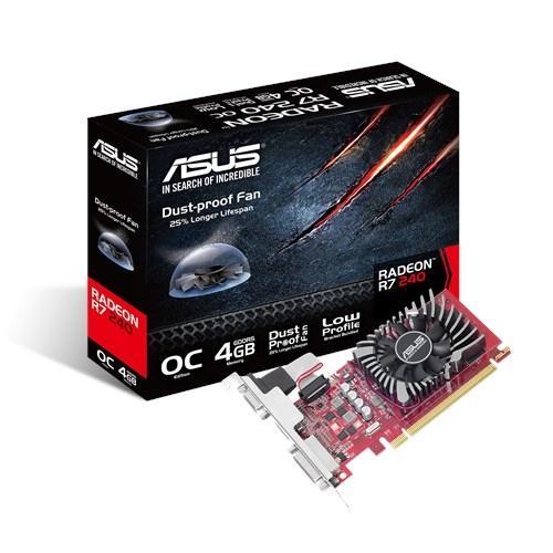 Видеокарта Radeon R7 240 OC, Asus, 4Gb DDR5, 128-bit, VGA/DVI/HDMI, 820/4600 MHz, Low Profile (R7240-O4GD5-L)