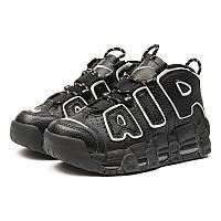 1d358850 Женские высокие кроссовки Nike Air More Uptempo '96 Premium черные с белым  р.36
