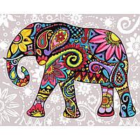 """Набір для розпису по номерах. Тварини, птахи """"Яскравий слон"""" 40х50см., Сложность 4"""