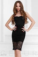 Нарядное платье-бандо без бретелек с кружевной отделкой