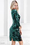 Бархатное платье с кружевной отделкой изумрудное, фото 2