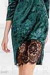 Бархатное платье с кружевной отделкой изумрудное, фото 4