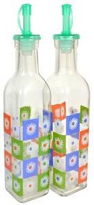 Бутылки стеклянные для масла и уксуса с гейзерной пробкой V 300 мл (набор 2 шт)