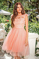 Воздушное розовое платье с прозрачной кокеткой и крылышками на рукавах