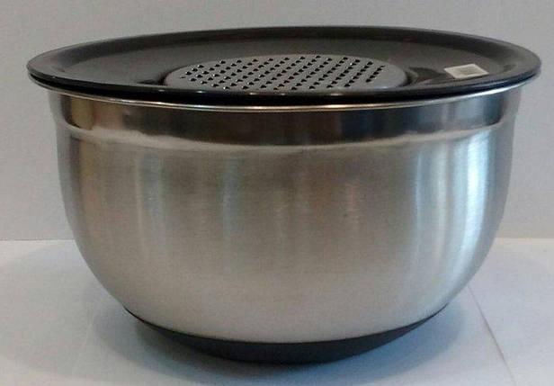 Терка с миска нержавеющая круглая V 2500 мл Ø 215 мм ( шт ), фото 2