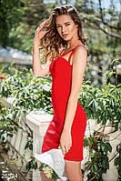 Вечернее платье футляр на бретельках красное