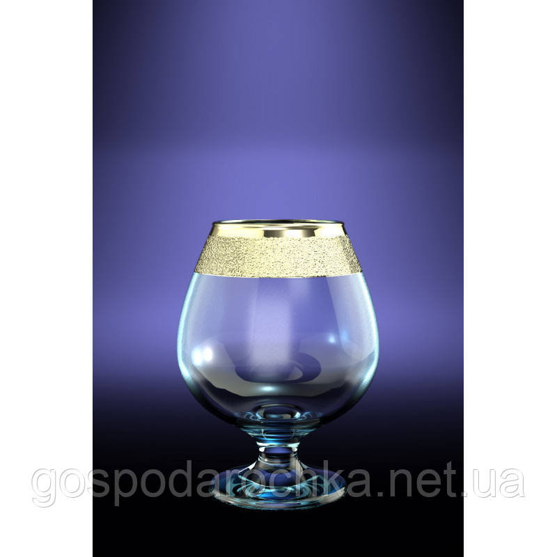 Бокалы для коньяка 400мл / 6шт. (Бистро) декор Золотой карат