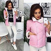 Куртка женская демисезонная на синтепоне С, М, Л  розовый, фото 1