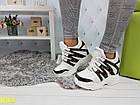 Сникерсы кроссовки на платформе с танкеткой белые в стиле LV, фото 5