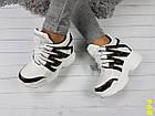 Сникерсы кроссовки на платформе с танкеткой белые в стиле LV, фото 4