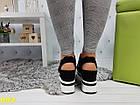 Сникерсы кроссовки на высокой платформе с открытой пяткой черно-белые, фото 6