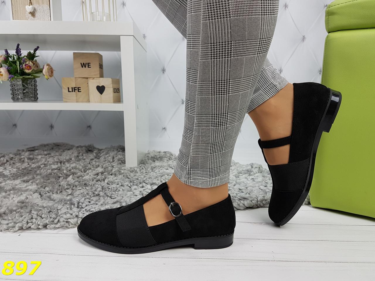 Туфли на низком ходу с резинкой черные