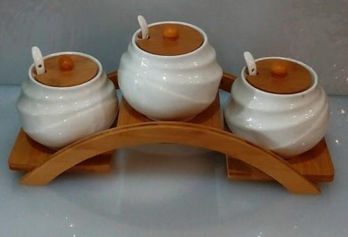 Соусники керамические на деревянной подставке 550 мл набор(3шт)