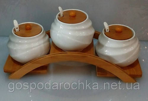 Соусники керамические на деревянной подставке 550 мл набор(3шт), фото 2
