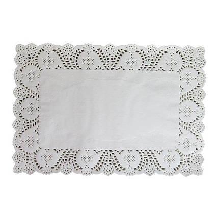 Салфетки бумажные прямоугольные ажурные 250*370 мм (уп 100 шт), фото 2