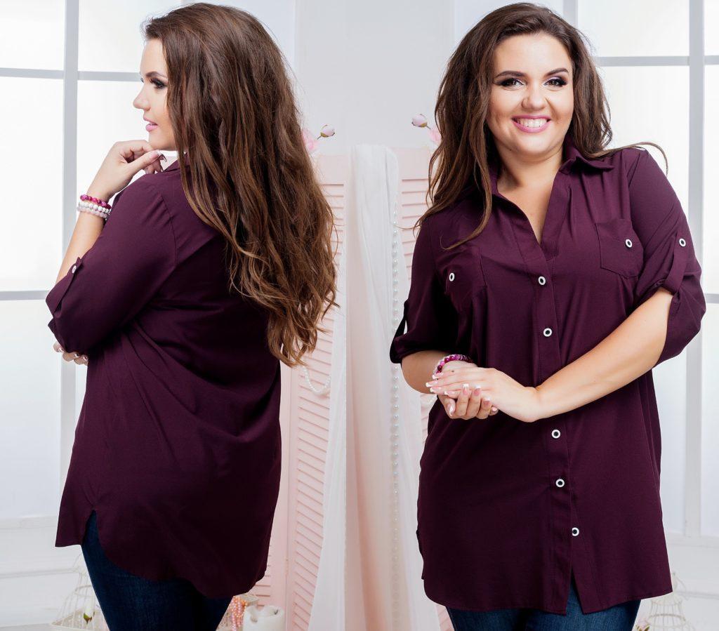 Женская рубашка марсала 8168