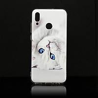 Чехол Print для Huawei P Smart 2019 силиконовый бампер Cat white