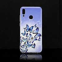Чехол Print для Huawei P Smart 2019 силиконовый бампер butterflies blue