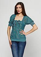 Блуза Suntto 40 Черный, бирюзовый (CH-4051_Black-Lblue)
