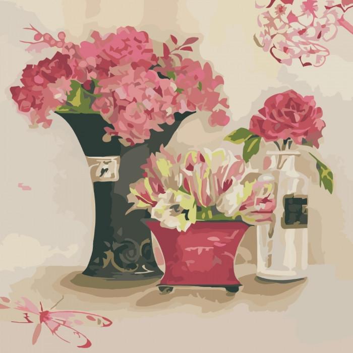 """Картина по номерам. Букеты """"Розовые мечты"""" 40х40см KHO2060"""