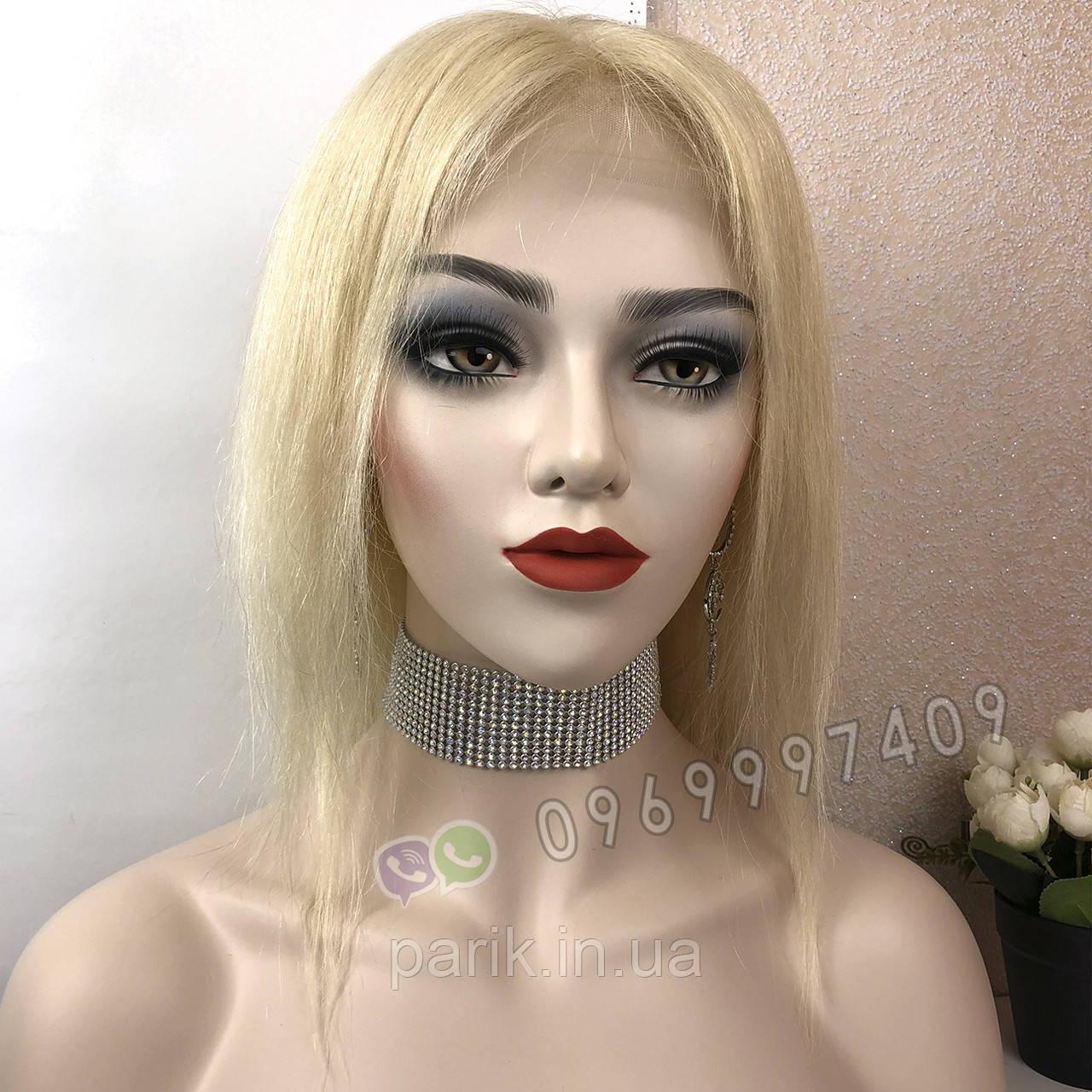 Парик из натуральных волос, каре блонд на сетке