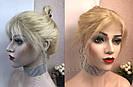 Парик из натуральных волос, каре блонд на сетке, фото 7