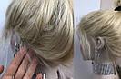Парик из натуральных волос, каре блонд на сетке, фото 9